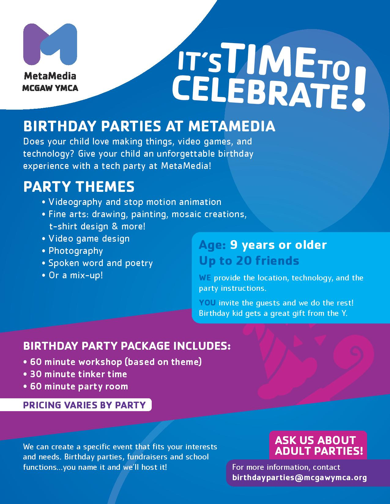 Space rental birthday parties the mcgaw ymca space rental birthday parties xflitez Image collections